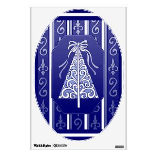 Azul marino y blanco remolina el árbol de navidad vinilo decorativo