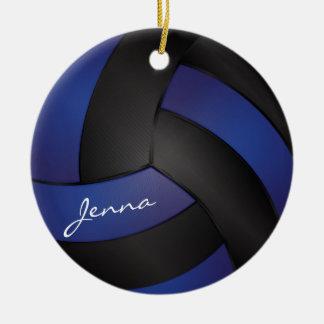 Azul marino y negro personalice el voleibol adorno navideño redondo de cerámica