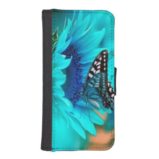 Azul, mariposa, caja de la cartera del iPhone 5/5S Fundas Cartera Para Teléfono