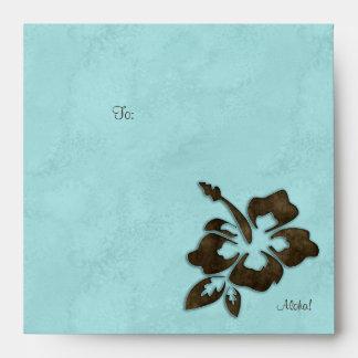 Azul marrón del fiesta de Luau de la flor del hibi Sobre