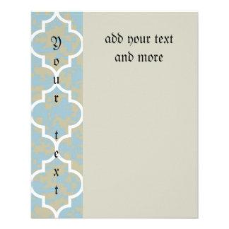azul, marroquí, quatrefoil, modelo, de moda, folleto 11,4 x 14,2 cm
