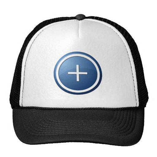 azul más el botón gorras