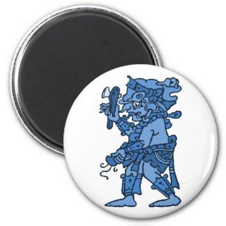 Azul maya de dios de la lluvia imán redondo 5 cm