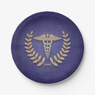 Azul+Médico o enfermera del caduceo del oro Plato De Papel De 7 Pulgadas