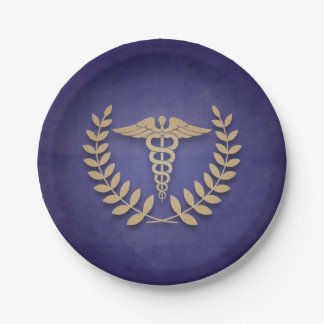 Azul+Médico o enfermera del caduceo del oro Platos De Papel