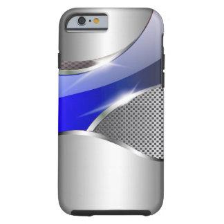 Azul metálico de la redada de la malla del cromo funda resistente iPhone 6