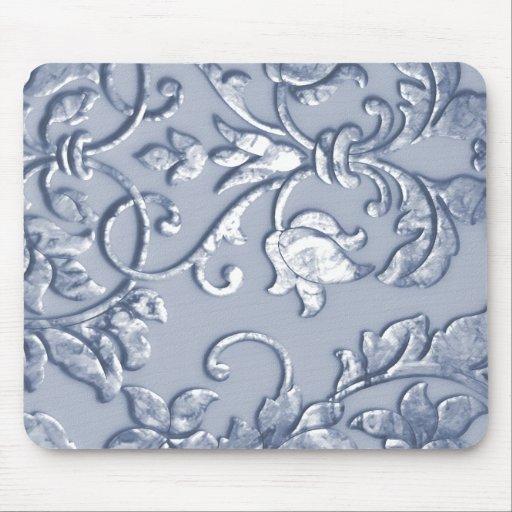 Azul metálico grabado en relieve del damasco tapete de ratón