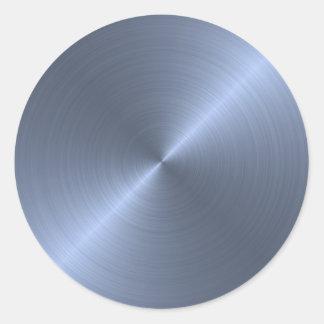 Azul metálico pegatina redonda
