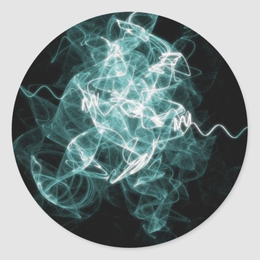 azul mezclado fractal pegatinas redondas