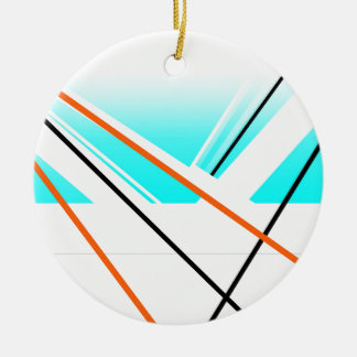 Azul minimalista del paisaje del puerto abstracto adorno navideño redondo de cerámica