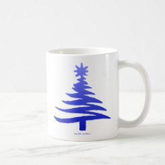 Azul moderno de la impresión de la plantilla del taza clásica