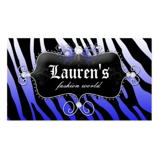 Azul moderno de la joyería de la cebra de la moda tarjetas personales