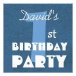 Azul moderno del 1r cumpleaños del bebé invitacion personalizada