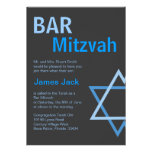 Azul moderno y gris de Mitzvah Invitiation- de la  Invitaciones Personalizada