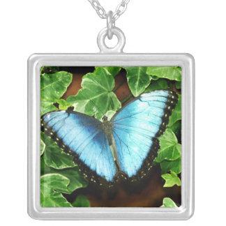 Azul Morpho de la plata esterlina Colgante Cuadrado