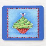 Azul Mousepad de la magdalena del árbol de navidad Tapetes De Raton