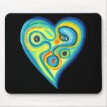 Azul Mousepad del corazón del amor Tapete De Ratón