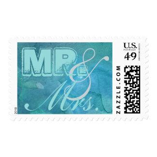 Azul Mr&Mrs de Shell de la lapa de la acuarela Sello Postal