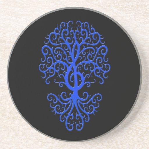 Azul musical del árbol del Clef agudo en negro Posavaso Para Bebida