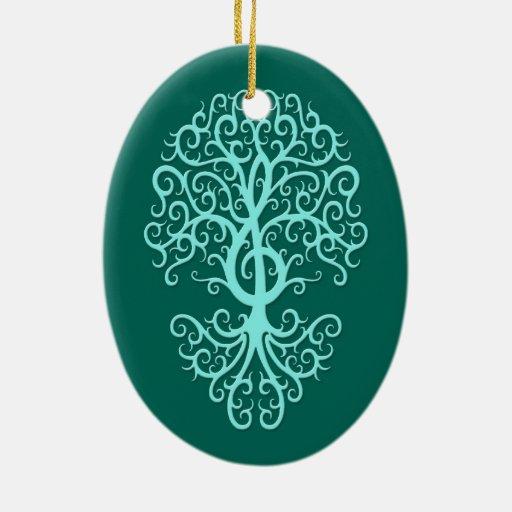 Azul musical del trullo del árbol del Clef agudo Adorno