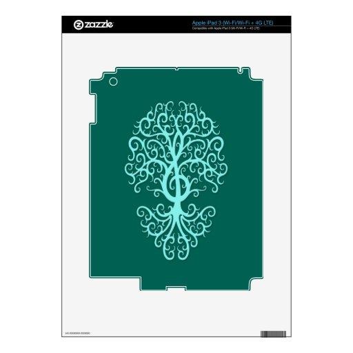 Azul musical del trullo del árbol del Clef agudo iPad 3 Pegatinas Skins