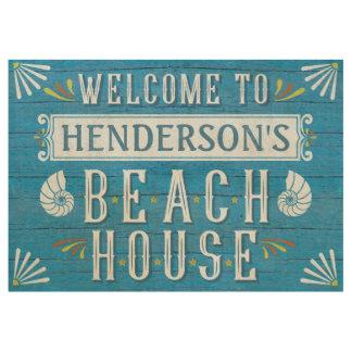 Azul náutico costero personalizado de la casa de póster de madera