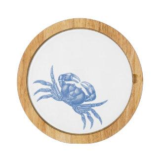 Azul náutico de Woodblock del cangrejo costero de