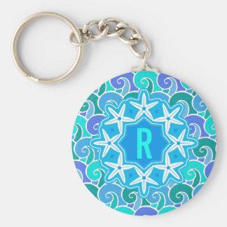 Azul náutico del monograma de las estrellas de mar llavero redondo tipo pin