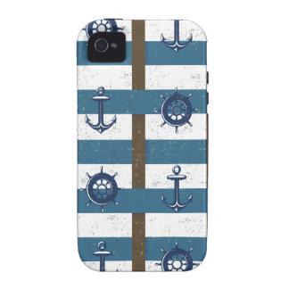 Azul náutico retro del marrón del ancla del océano iPhone 4/4S fundas