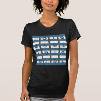 Azul náutico retro del marrón del ancla del océano t shirts