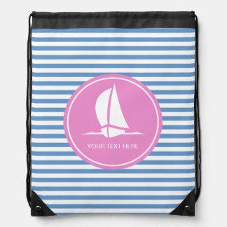 Azul náutico y el blanco raya el bolso de lazo mochilas