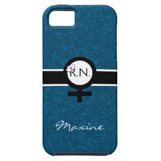 Azul/negro/blanco+Muestra femenina+Nombre de la Funda Para iPhone SE/5/5s