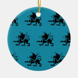 Azul negro de los dragones adorno de navidad