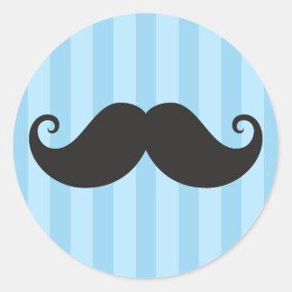 Azul negro divertido del bigote del bigote del pegatina redonda