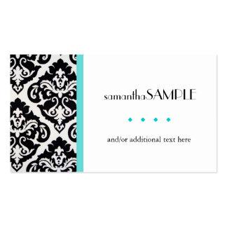 Azul negro y blanco del damasco tarjetas de visita