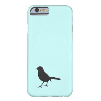 Azul negro y blanco del pájaro del gorrión de la funda de iPhone 6 barely there