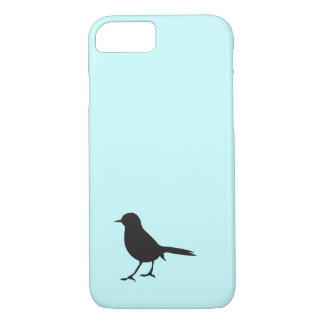 Azul negro y blanco del pájaro del gorrión de la funda iPhone 7