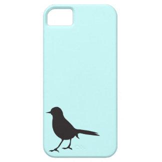 Azul negro y blanco del pájaro del gorrión de la s iPhone 5 funda