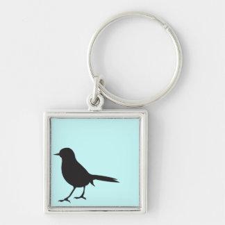 Azul negro y blanco del pájaro del gorrión de la s llavero cuadrado plateado