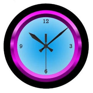 Azul negro y fresco magenta reloj redondo grande