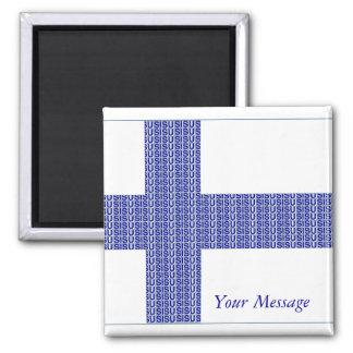 Azul nórdico de la bandera de Finlandia en el imán