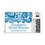 Azul nupcial del sello de la ducha del damasco flo