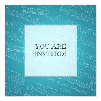 """Azul nupcial elegante de la partitura de la ducha invitación 5.25"""" x 5.25"""""""