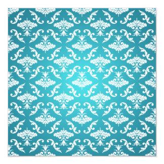 """Azul nupcial elegante del damasco del vintage de invitación 5.25"""" x 5.25"""""""