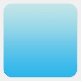 Azul Ombre de la aguamarina Pegatina Cuadrada