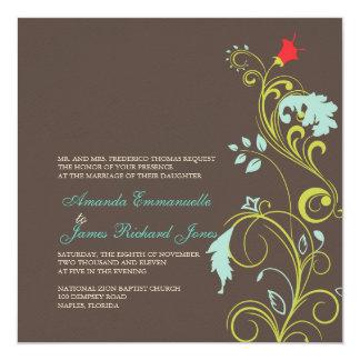 """Azul ornamental /chocolate de la vid/de la invitación 5.25"""" x 5.25"""""""