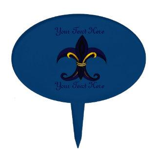 Azul/oro de la flor de lis decoraciones de tartas