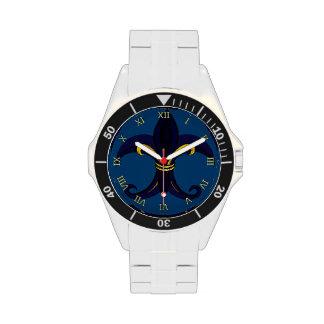 Azul/oro de la flor de lis reloj de mano