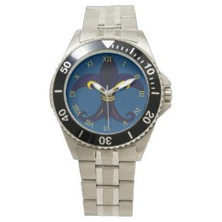Azul/oro de la flor de lis reloj