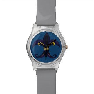Azul/oro de la flor de lis relojes